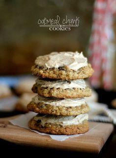 Oatmeal Chocolate Chunk Cookies with Cinnamon Buttercream.