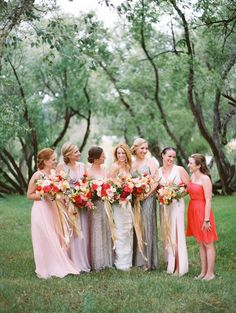 Loving this mix and match bridesmaid look with bright and metallic elements: http://www.stylemepretty.com/2014/11/25/colorful-colorado-farm-wedding/ | Photography: Brumley & Wells - http://brumleyandwells.com/