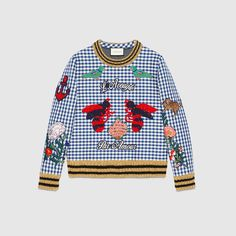 Gucci Men - Check jersey embroidered sweatshirt