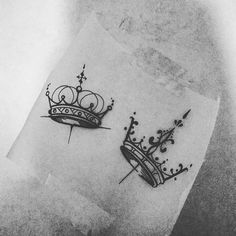 """18 Likes, 1 Comments - Maria Jibaja (@mariajibajatattoo) on Instagram: """"Some cute little crowns perfect for wrists ✨ #queen #king #coupletattoo #tattoofortlauderdale…"""""""