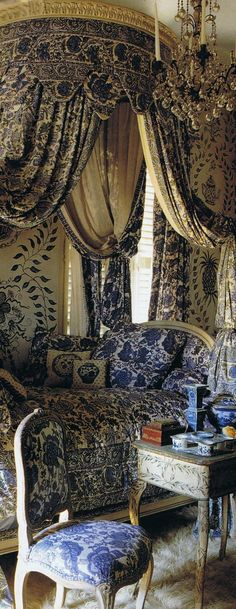 Fabric details....Wow... princess bedrooms, french bedrooms, dream, canopy beds, blue bedrooms, world of interiors, white bedrooms, french blue, canopies