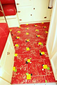 30 patterns for vinyl floor tiles from the 1950s Floor tile