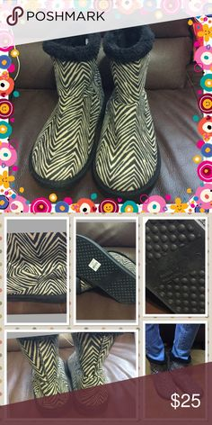 """Vera Bradley Zebra Cozy Bootie Tan and black zebra printed suede look like material 7"""" from top to bottom furry inner very comfortable choose from small(5-6) medium(7-8) brand new with tag but no box Vera Bradley Shoes Ankle Boots & Booties"""