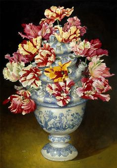 Jose Escofet Tulipiere of Parrot Tulips Dutch Still Life, Still Life Art, Art Floral, Non Plus Ultra, Parrot Tulips, Tulips Flowers, Creation Photo, Blue And White China, Paul Cezanne
