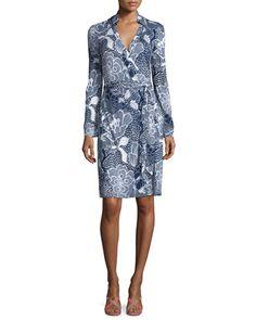 TBXT0 Diane von Furstenberg New Jeannie Two Flower Power Wrap Dress, Midnight