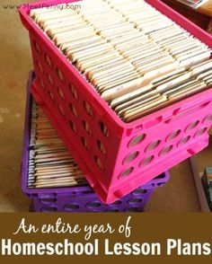 Recently, I shared a picture of my lesson plan system that had all of our lessons for FOUR kids and 180 days of homeschool in two crates. I received a lot of questions and answered them all in this post. Am I organized? No. Am I smart? You be the judge!