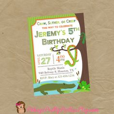 REPTILE Birthday Party Invitation Frog Snake Alligator Crocodile Lizard by PokeysPrettyParties on Etsy https://www.etsy.com/listing/227126523/reptile-birthday-party-invitation-frog