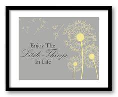Enjoy the Little Things In Life Yellow Grey Gray Dandelion Bathroom Art Print Wall Decor Bathroom Custom