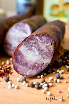 Topika: Kiełbasa krakowska sucha Home Made Sausage, Kielbasa, Smoking Meat, Thanksgiving, Smoke, Homemade, Food, Ideas, Decor