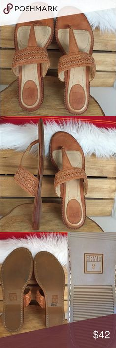 """FRYE ALI ARTISANAL Thong Leather Brown Sandals Beautiful FRYE ALI ARTISANAL Brown Leather Thong Sandals.  Description: • Size: Women's 8.5 • Style: 72025 • Color: Brown • Sunwash Nubuck. • Leather upper material. • Zigzag stitched instep band. • Slide-In. • 1/2"""" Heel.  • Comfy cushioned footbed. Rubber sole.  • Imported. Condition: • Shoes are in very good condition have mild or moderate signs of use. • Some marks from normal wear. • Small pen mark on footbed of left shoe. Otherwise in great…"""