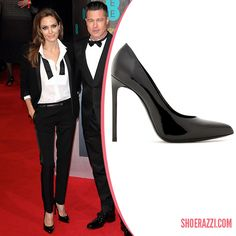 Angelina Jolie in Saint Laurent Paris Black Patent Leather Pumps - ShoeRazzi