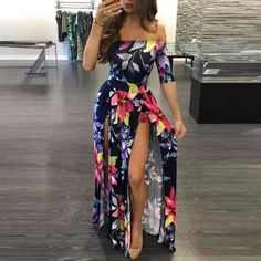 Ladies Floral Print Dress Ankle-Length High Slit Boho Dress - Inspirational Clothing and Accessories Plus Size Summer Dresses, Summer Dresses For Women, Dress Summer, Summer Outfit, Outfit Vestidos, Maxi Robes, Floral Maxi Dress, Boho Dress, Floral Playsuit