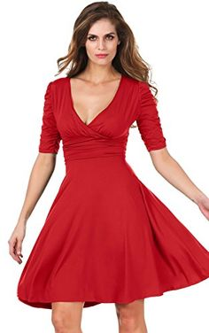 f0f4183d56b3 Meaneor Womens Half Sleeve Ruched Waist Ruffles Stretchy Wear to Work Dress  Red S  gt
