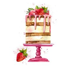 Watercolor Cake clipart Birthday Cake Wedding Bakery Sweets Chocolate clipart - My CMS Watercolor Birthday Cards, Watercolor Cake, Simple Watercolor, Watercolor Trees, Tattoo Watercolor, Watercolor Animals, Watercolor Background, Watercolor Landscape, Abstract Watercolor