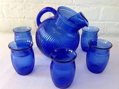 Hazel Atlas Fine Ribbed Ritz Blue Juice Pitcher by VintageTakes