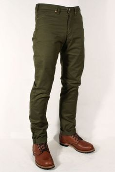 Momotaro Jeans 01-020 Drill Trousers Olive Tapered : SUNSETSTAR