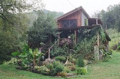 Small house large garden, i think i found my dream home. this lovely little home/cabin is in tennessee up in the mountains. Future House, My House, Cabins And Cottages, Earthship, Green Life, House Goals, Little Houses, My Dream Home, Beautiful Homes