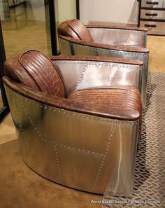 "Set of TWO 36"" W Arm chairs ~ Modern Premium Vintage brown leather Stainless steel. eBay seller: world_bazaar_exotics $3195.00 BIN or BO (Aug.2014)"