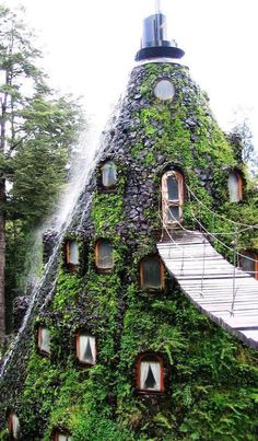 This is the Magic Mountain Hotel which can be found in Huilo Huilo, Chile.