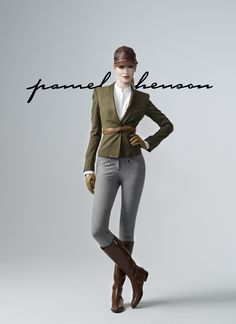 Pamela Henson Collection | English outfit charcoal gray breeches, olive top, brown boots