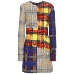 Acne Studios Ebele Check Wool Blend Dress ($595) ❤ liked on Polyvore featuring dresses, brown dress, check print dress, checked dress, acne studios and checkered dress