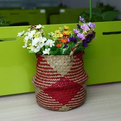 Flavor In 100% True Storage Basket Rattan Straw Basket Wicker Seagrasss Folding Laundry Flower Pot Flower Vase Home Garden Hanging Basket Wedding Fragrant