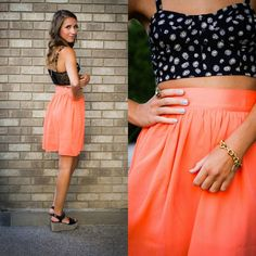 Neon Coral Skirt - BUY @ Shop20sgirlstyle