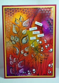 Eileen's Crafty Zone: Dylusions Stamps and Inks .... Fabulous card, great colours and a brief description of the technique on the link.