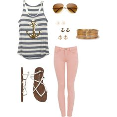 Anchors Away - Make this nautical themed shirt cute with pastel pants and a few accessories.