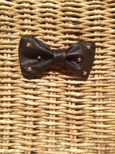 Black Studded Leather Bow Tie. Now available at BrazenBorne.etsy.com