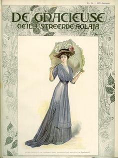 [De Gracieuse] Zomertoilet van oudblauw linon, gegarneerd met entre-deux en borduursel (August 1908)