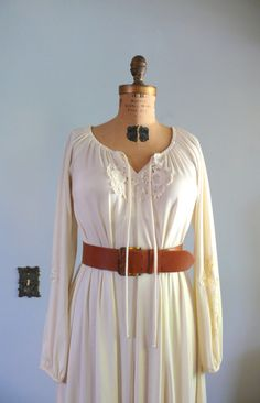 1970s Dress / Cream Peasant Dress with Lace by AdelaideHomesewn