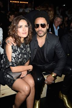 Pin for Later: It's a Party and a Protest in the Front Rows at PFW Salma Hayek and Lenny Kravitz Salma Hayek and Lenny Kravitz at the Saint Laurent show.
