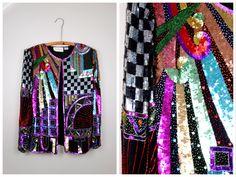 RETRO Rainbow Beaded Sequined Jacket / BRIGHT Sequin Embellished Funky Novelty Jacket Large L by braxae on Etsy