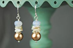 Freshwater Pearl Dangle Earrings, Blue Chalcedony Gemstone, Handmade, Sterling Silver, by SidneyAnnJewelry