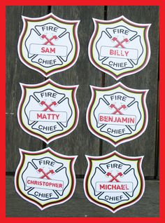Printable Fire Chief Badges that you can personalize for each party guest!   Editable Template   INSTANT DOWNLOAD $2.50 via SIMONEmadeit.com