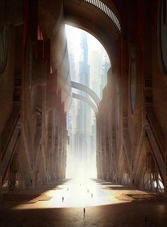 scifi-fantasy-horror: The Gateway by Rudolf Herczog Fantasy Concept Art, Sci Fi Fantasy, Fantasy Artwork, Fantasy World, Fantasy Life, Environment Concept Art, Environment Design, Fantasy Landscape, Landscape Art