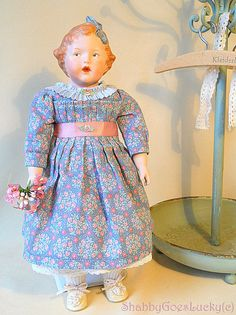 Antique  Heubach character girl bisque doll 1915, marked 7851 Singing Susan, blue painted intaglio eyes,  vintage Repro, old German doll