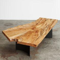 spalted maple single slab coffee table with black steel curved fin base #UrbanHardwoods #SalvagedWood