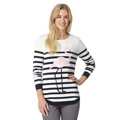 Ivory striped flamingo jumper