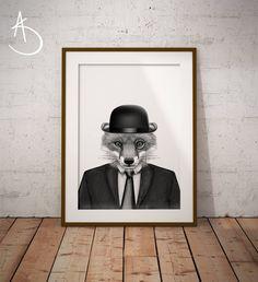 FOX ART PRINT, Fox Printables, Printable Fox Art, Dapper Fox, Fox in Suit, Black and White Fox, Fox Art, Fox Art Prints, Fox in Clothing Art by AmberstoneDesign on Etsy Black And White Printer, Fox Drawing, Printer Types, Nursery Letters, Photo Store, Fox Art, White Fox, Typography Art, Minimalist Art