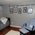 Name in frames, hang from curtain rod - easy!  Also decided on gray for the walls!  I like the idea!