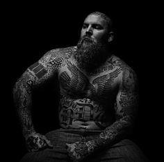 big man with big beard bald tattoo tattoos tattooed full thick bald beards bearded men man style ink strong muscles