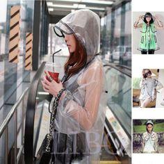 Women-Girl-Transparent-Raincoat-fashion-Coat-Hooded-Poncho-new-Waterproof-Jacket