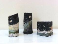Elizabeth Raeburn (1943) - Three raku landscape pots (2009)