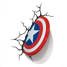 The Avengers Wall Art Nightlight, Captain America - eclectic - bedroom products - by Target Battery Operated Wall Sconce, Battery Operated Lights, Battery Lights, Led Wall Lights, Wall Sconce Lighting, 3d Deco Light, 3d Light, Light Bulb, Art Mural 3d