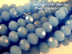 36 Cornflower Glass Bead Faceted Abacus Opaque Light Blue Rondelle 8x6mm - 8 in - G6021-CFB36 by allearringsandsuppli on Etsy https://www.etsy.com/listing/187262178/36-cornflower-glass-bead-faceted-abacus