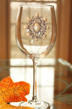 Rhinestone and Pearl Vintage Wine Glass by JeweledWineGlasses