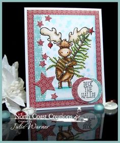 North Coast Creations Stamp sets:Christmas Tree Maxwell, Merry and Bright, Our Daily Bread Designs Custom Dies: Flourished Star Pattern, Sparkling Stars, Leafy Edged Borders