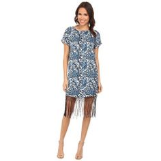 MICHAEL Michael Kors - Kathumar Fringe Dress (Heritage Blue) Women's Dress